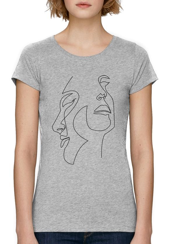 дамска тениска с щампа лица една линия