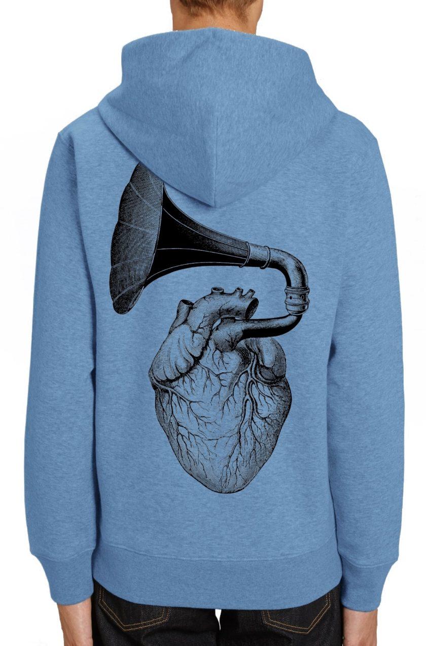 Heart-phone синьо худи суичър
