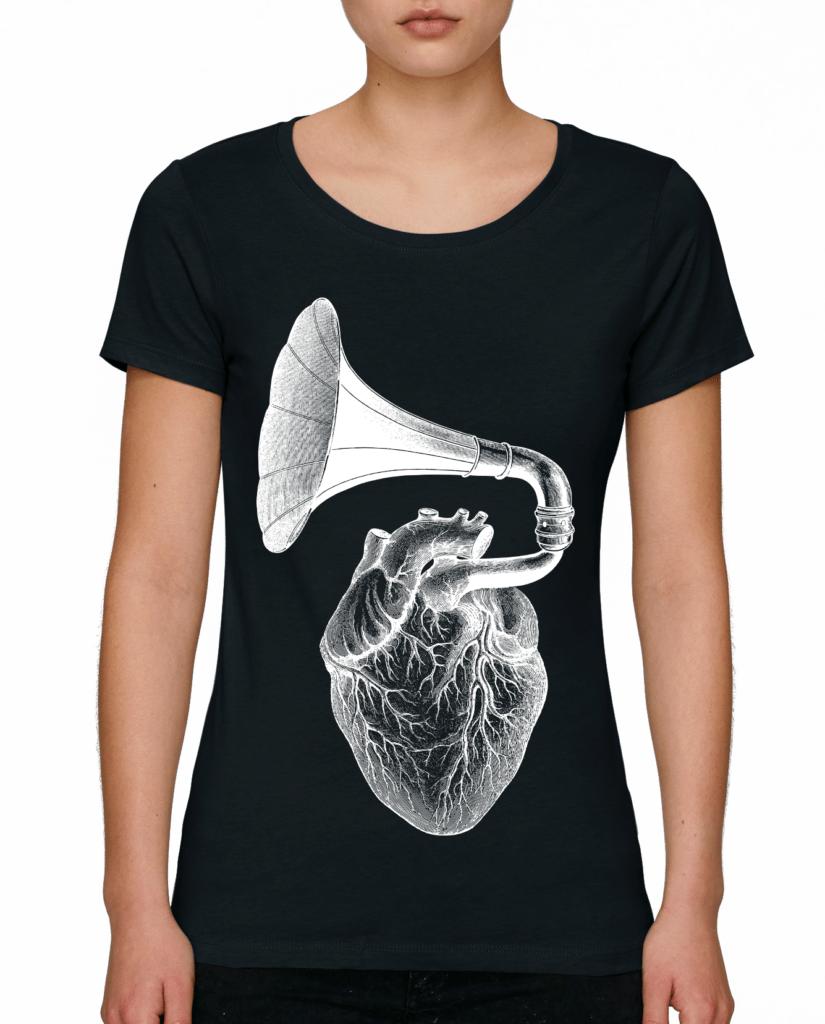 дамски тениски черна Heart-phone