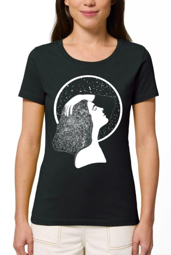 дамски тениски с щампи луна жена небе звезди