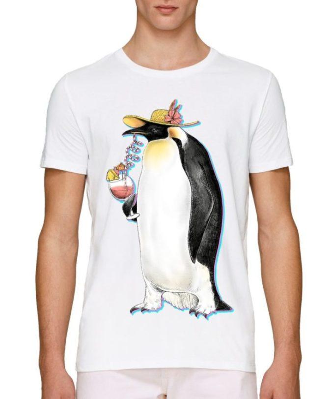 бели мъжки тениски с щампи с животни пингвин коктейл плажна